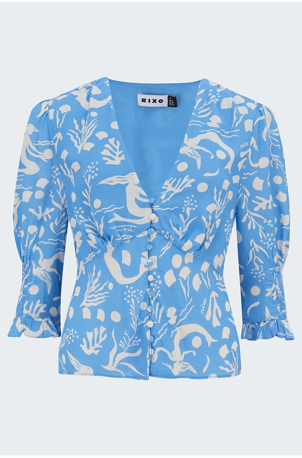 payton blouse in sea life blue