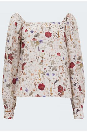 gemma blouse in pressed floral ivory