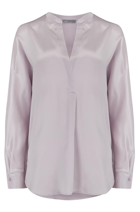 Vince Band Collar Silk Blouse in Lilac