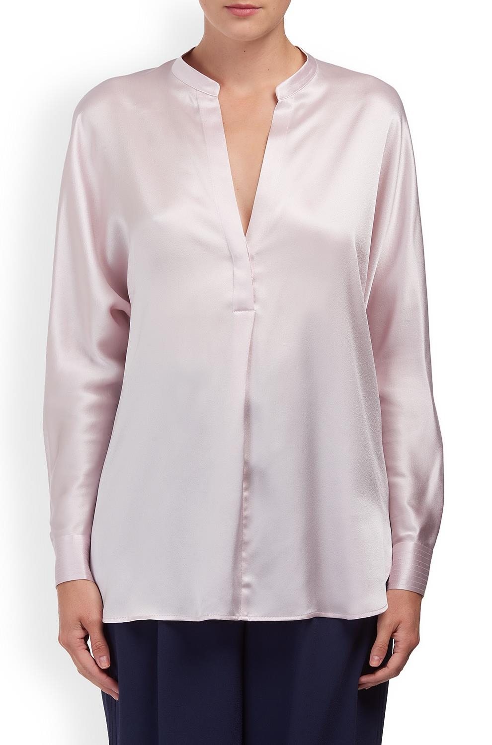 436e82893e5301 Vince Band Collar Silk Blouse in Lilac -