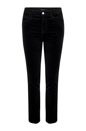 J Brand Jeans Ruby Cropped Cigarette Jean in Black Velvet