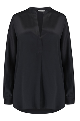 Vince Band Collar Silk Blouse in Black