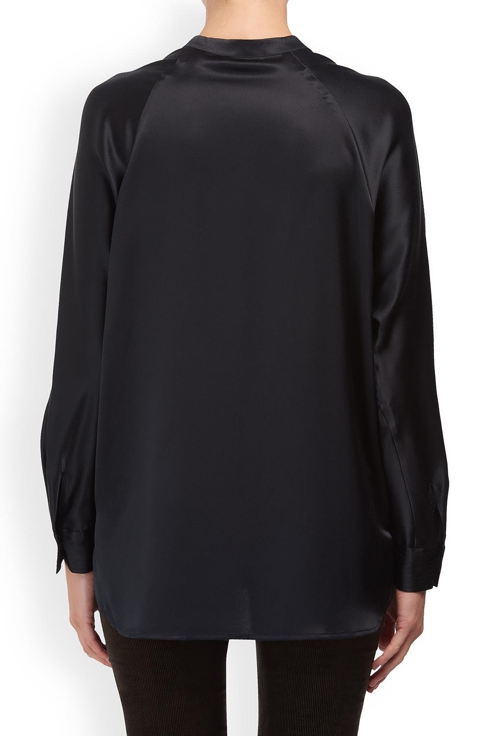 91df5b514cc578 Vince Band Collar Silk Blouse in Black -