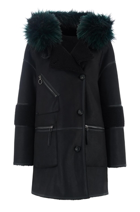 Urbancode Azza Faux Fur Reversible Hooded Duffle Coat in Black