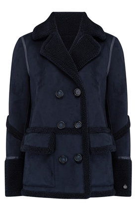 Izzi Shearling Patch Pocket Coat in Navy