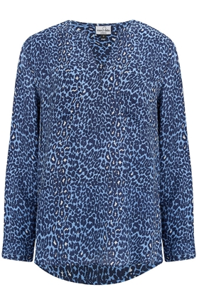 Mercy Delta Windsor Blouse in Mirco Safari True Blue
