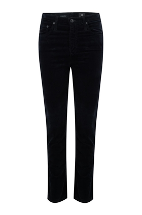 AG Isabelle Straight Leg Jean in Velvet Super Black