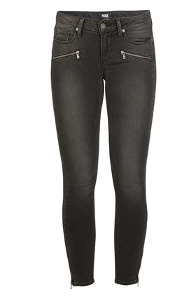 Paige Jane Zip Crop Transcend Jean In Smoke Grey