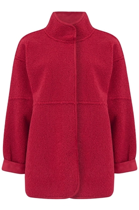 Velvet Albany Reversible Sherpa Coat in Red