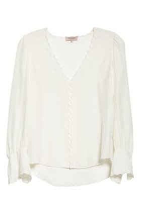 silk charmeuse scallop top in snow