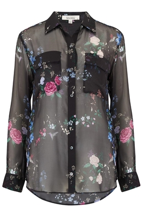 Equipment Signature Garden Soiree Print Shirt in True Black Multi