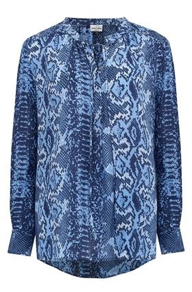 Mercy Delta Stowe Blouse in Blue Python