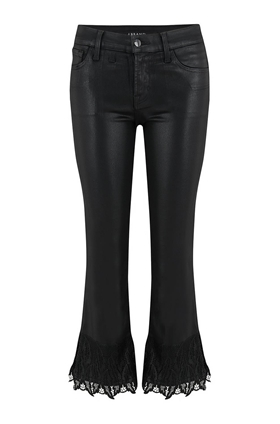 J Brand Selena Cropped Bootcut Jean in Black Out Coated
