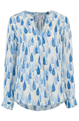 Trilogy Lucille Blouse in Blue Raindrops