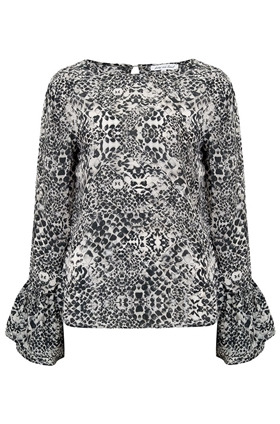 Lily & Lionel Ella Snake Print Blouse in Nude