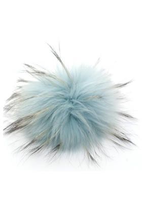 big fur pom pom in dusky blue