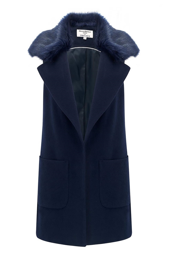Luna Fur Collar Waistcoat In Navy by Trilogy