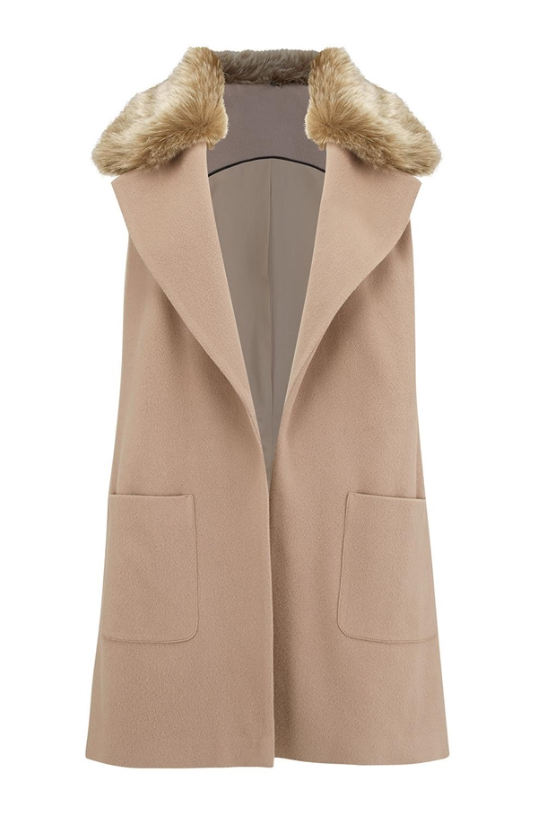 Luna Fur Collar Waistcoat In Taupe by Trilogy