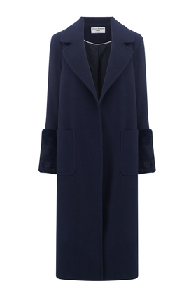 Helene Berman Ruth Long Collar Coat in Navy