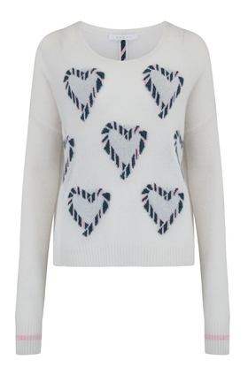 Duffy Heart Jumper in Cream and Bubble