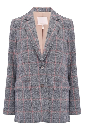Rebecca Taylor Plaid Tweed Blazer in Navy Combo