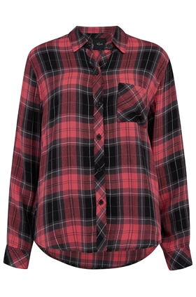 Rails Hunter Shirt in Scarlet, Graphite and White