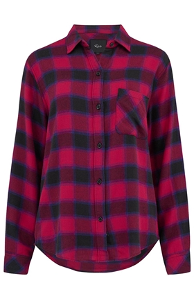 Rails Milo Shirt in Black, Cherry and Violet