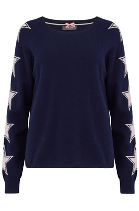 Star Sleeve Jumper in Navy, Cream and Silver