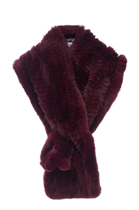Fur 5 Eight Loop Scarf in Burgundy
