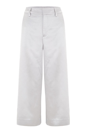 Vince Metallic Satin Crop Wide Pant in Silver