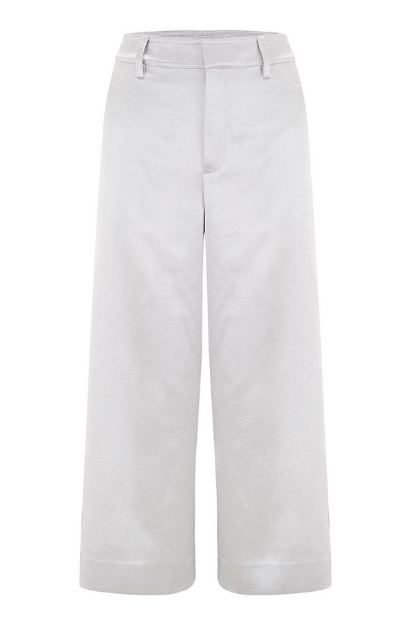 metallic satin crop wide pant in silver