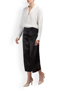 metallic satin wide crop pants in black