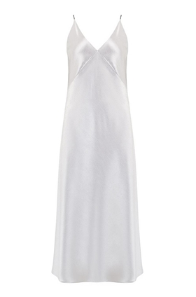 Bias Slip Dress in Silver