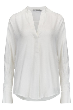 Vince Dot Silk Jaquard Popover Top in Off White