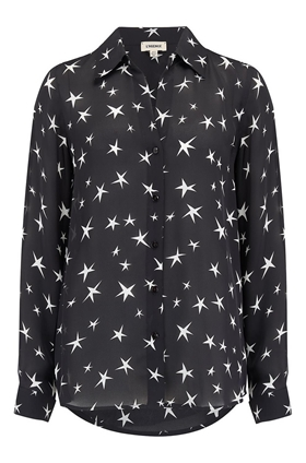 L'AGENCE Nina Blouse in Black and Ivory Stars