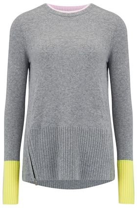 Duffy Contrast Zip Jumper in Grey and Sunshine