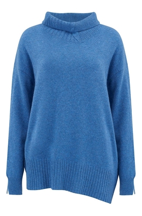 Duffy Funnel Neck Jumper in Denim Heather