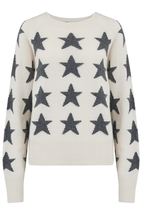 Brynlee Star Jumper in Chalk and Charcoal