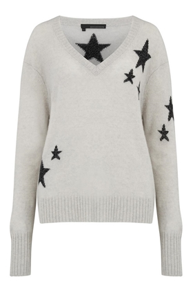 360 Sweater Jayla Star Jumper in Grey and Black