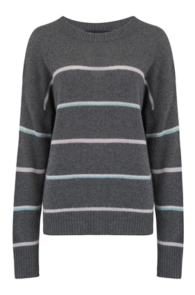 360 Sweater Parker Stripe Jumper in Charcoal Multi