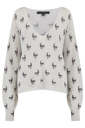 360 Sweater Penny Skull Jumper in Heather Grey