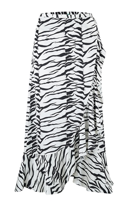Rixo Gracie Wrap Skirt in Mono Tiger