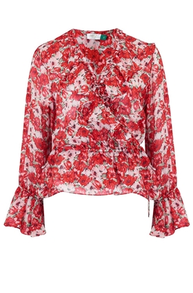 Rixo Roisin Ruffle Wrap Top in Diana Floral