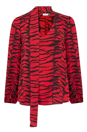 Rixo Moss Blouse in Red Tiger