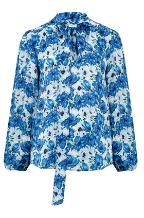 Rixo Moss Blouse in Diana Blue Floral