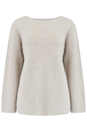 Marled Raglan Crew Neck Jumper in Marble Natural