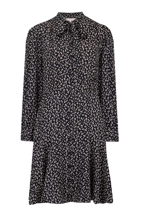 Rebecca Taylor Long Sleeve Mini Cheetah Dress in Black Combo