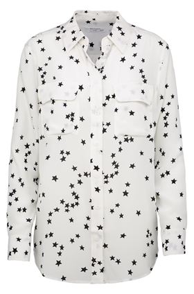 slim signature shirt in bright white star print