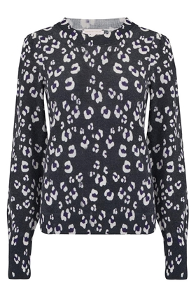 Rebecca Taylor Cheetah Print Jumper in Black