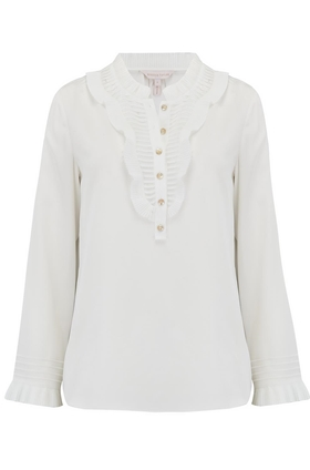 Rebecca Taylor Long Sleeve Pleated Silk Top in Snow
